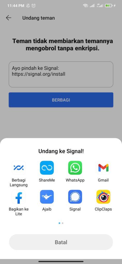 Undang Teman Menggunakan Aplikasi Signal