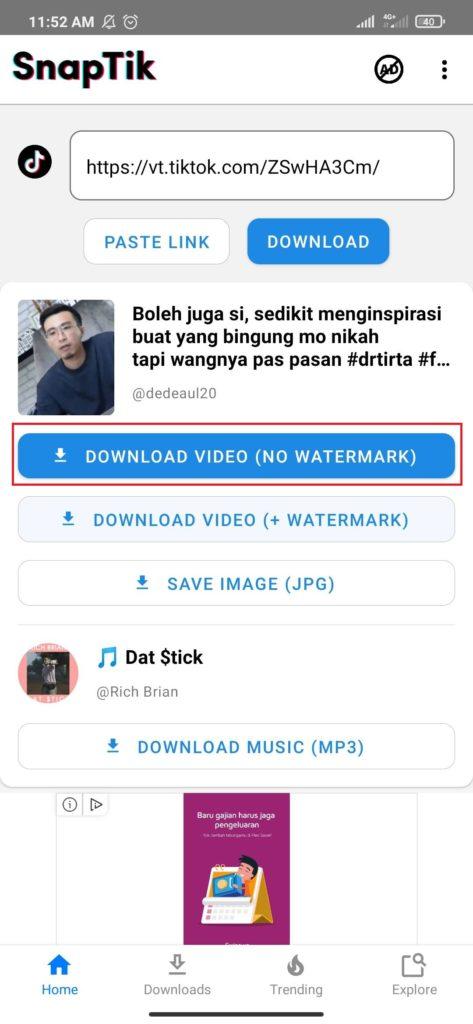 Cara Mudah Download Video dari TikTok Tanpa Watermark dengan Aplikasi Android