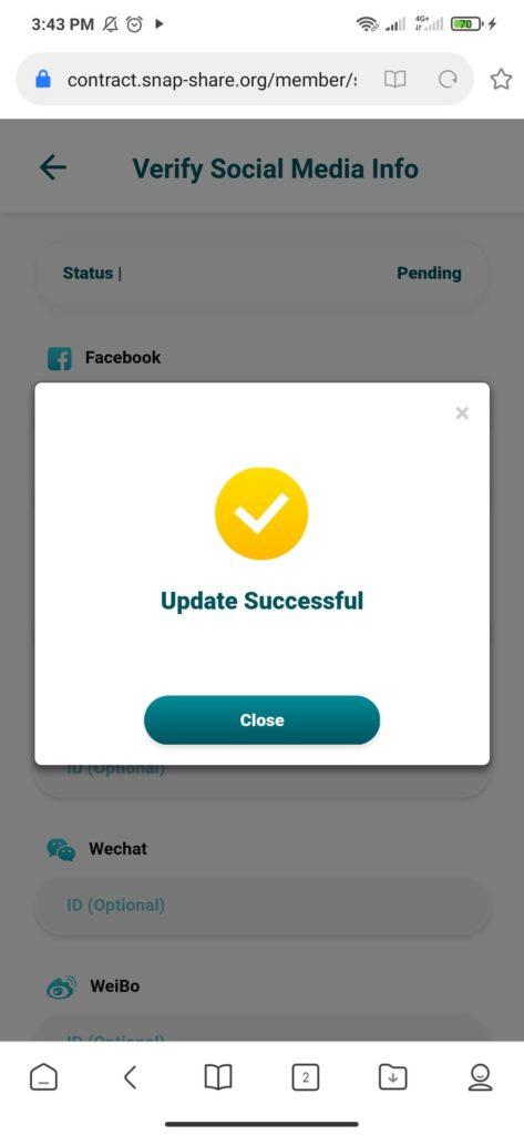 cara verifikasi akun snap share