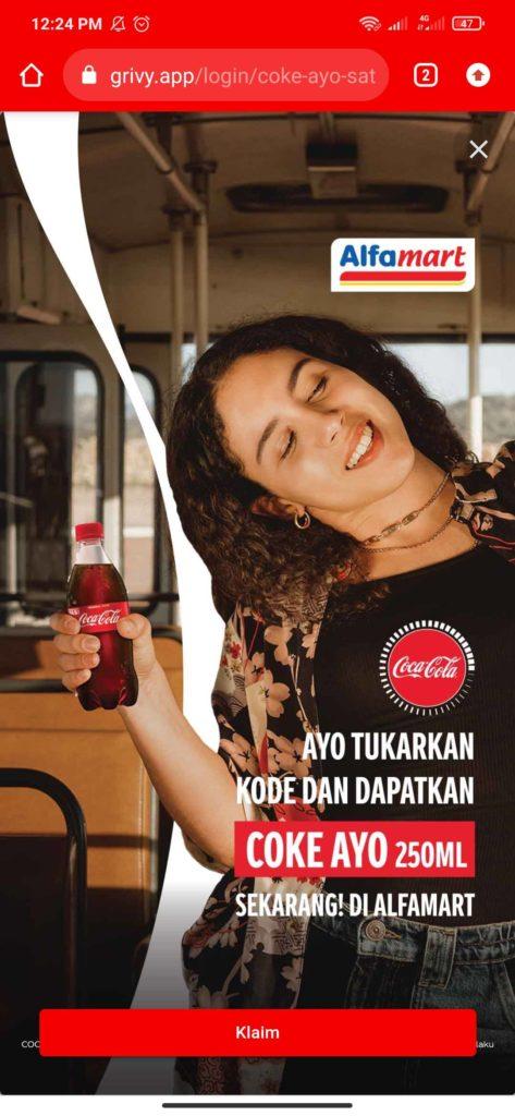 Cara Mendapatkan Minuman Coca Cola Gratis dari Alfamart