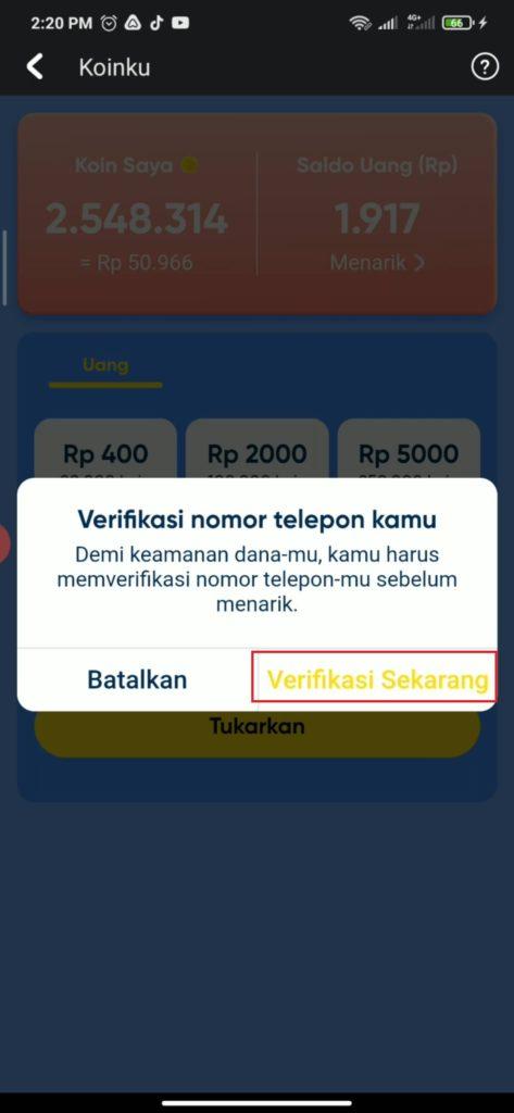 verifikasi nomor hp dari aplikasi snack video