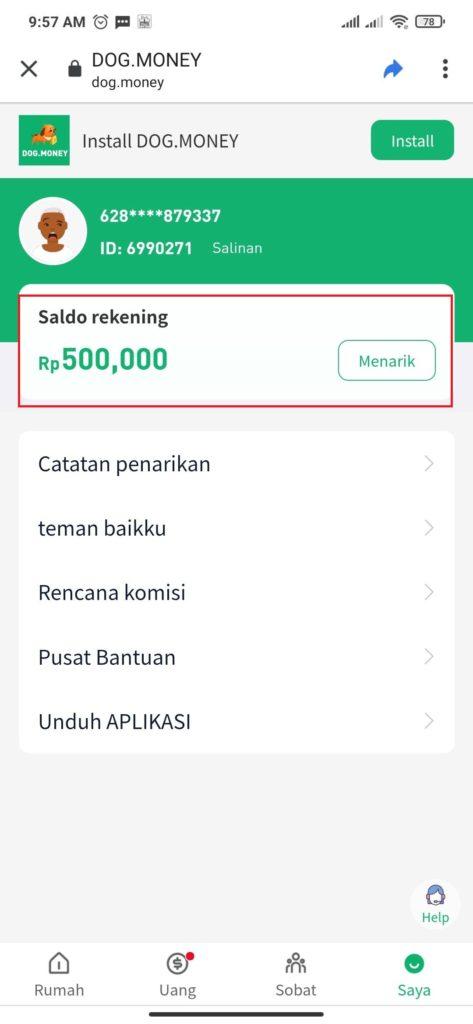bonus 500 ribu dari aplikasi dog money