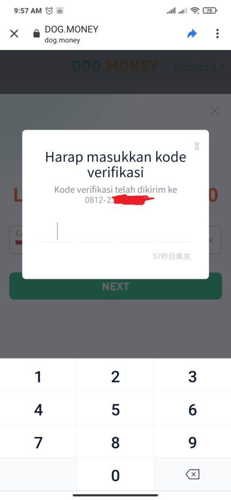 cara verifikasi pada aplikasi DOg Money