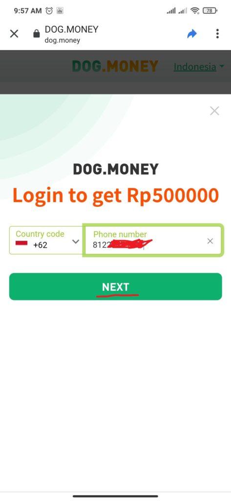 cara daftar aplikasi dog money
