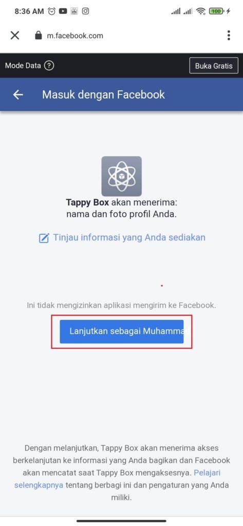 cara login dari aplikasi Tappy Box