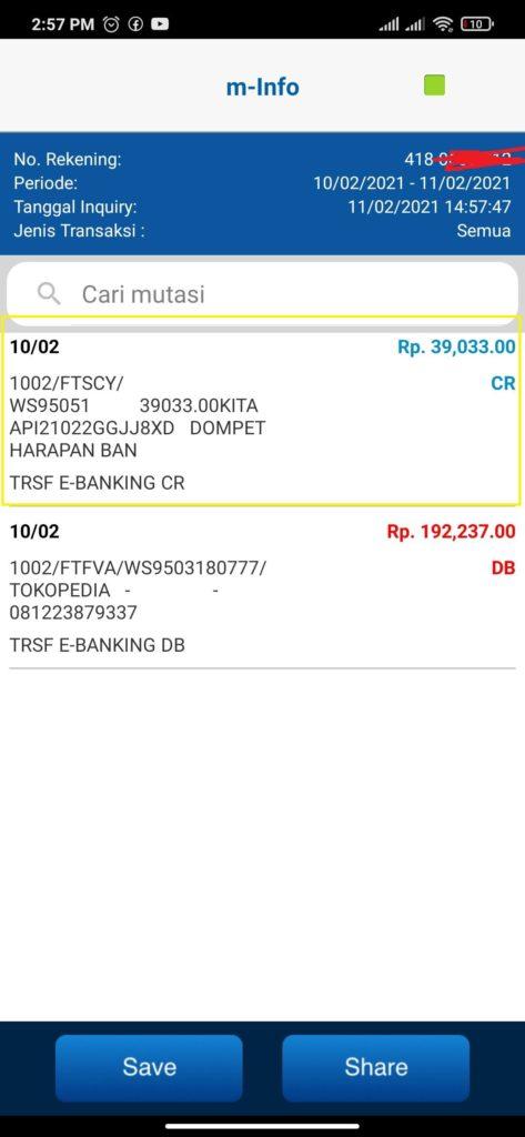 Uang dari Situs Kaka Transaksi dengan Rekening BCA