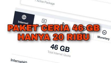 Cara Membeli Paket Ceria Telkomsel 46 GB Jaringan 4G