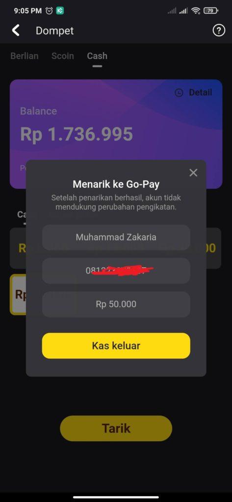 cara menarik uang snack video melalui Gopay