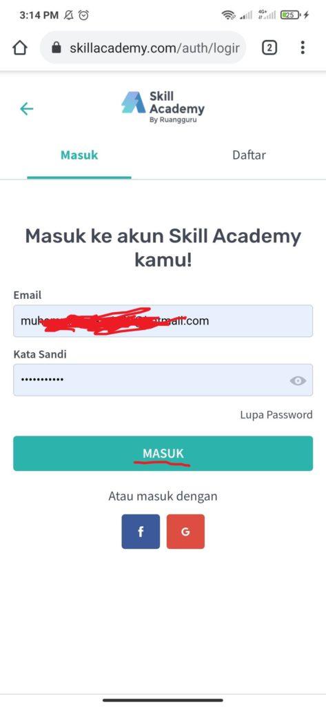 Cara Membuat Akun Skill Academy