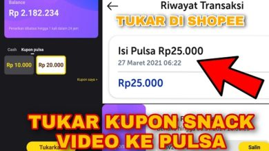 Bukti Pembayaran Tukar Kupon Pulsa Snack Video di Shopee