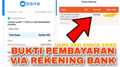 Bukti Pembayaran Uang dari Snack Video Via Rekening Bank