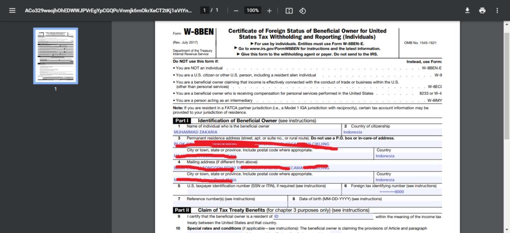 Bukti formulir pengisian pajak google adsense terbaru