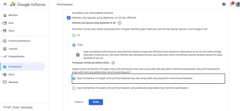 Cara Mudah Mengisi Informasi Pajak Google Adsense