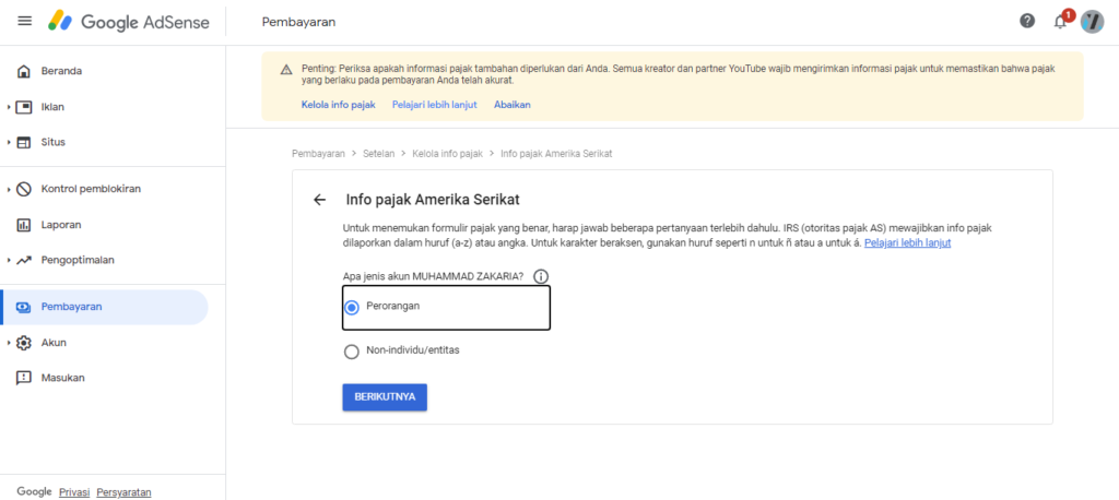 cara mengisi info pajak google adsense
