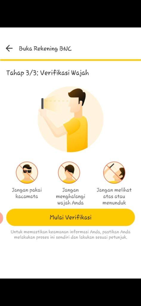 verifikasi wajah pada aplikasi neo+