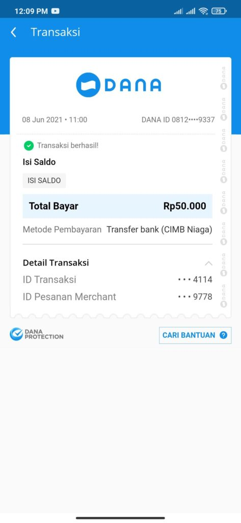 Bukti Pembayaran dari Bank Neo Via DANA Terbaru