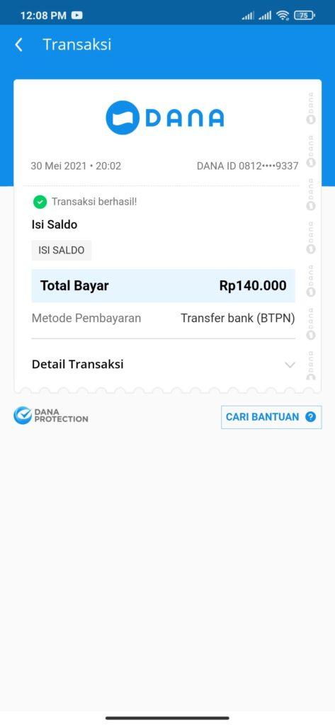 Bukti Pembayaran dari Aplikasi Bank Neo