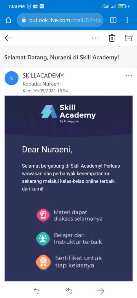 Email berhasil daftar dari situs Skill Academy