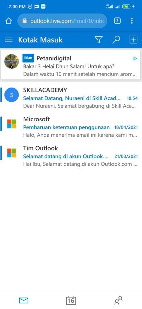 Email Masuk dari Skill Academy