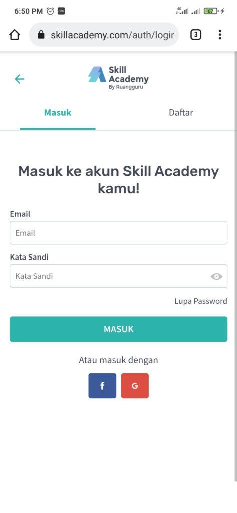 Cara mengisi formulir pendaftaran dari skill academy