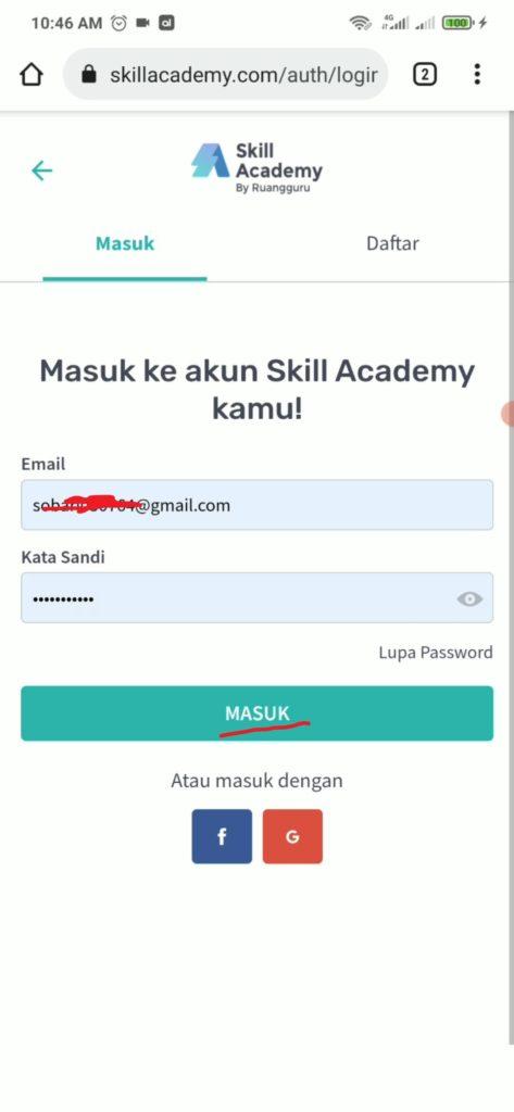 cara login di situs skill academy