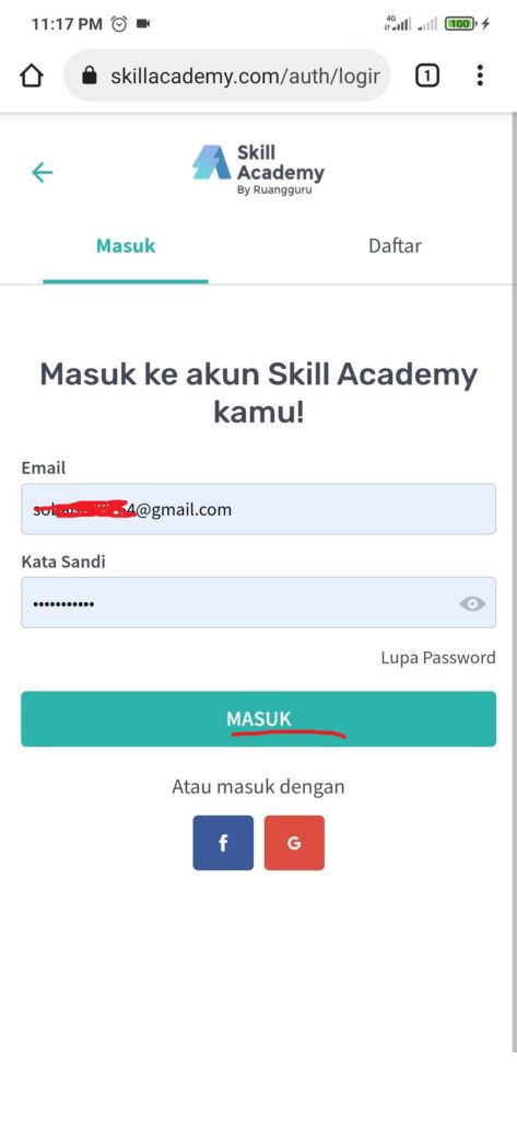 cara masuk untuk menarik pulsa dari skill academy